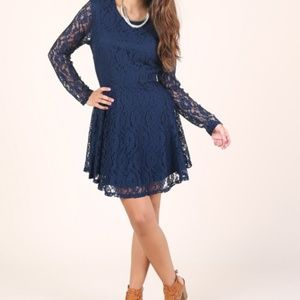 Altar'd State Long Sleeve Lace Mini Dress